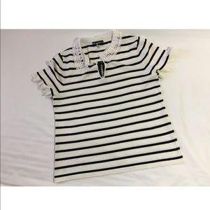 Karl Lagerfeld White Stripe Lace Peter Pan Collar